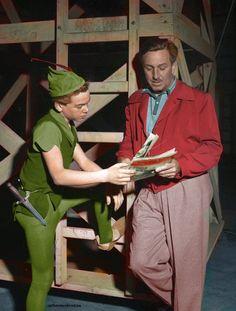 Bobby Driscoll (Live Model & voice of Walt Disney's Peter Pan) with Walt Disney.