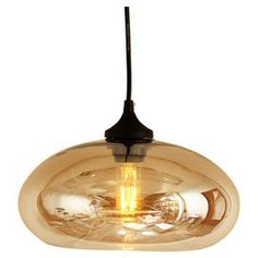 """Artfully crafted from mouth-blown glass, this beautiful pendant offers sleek style for your foyer or kitchen decor.   Product: PendantConstruction Material: Steel and glassColor: BrownFeatures: Mouth-blownAccommodates: (1) 40 Watt bulb - not includedDimensions: 70.88"""" H x 10.63""""Diameter (with cord)"""