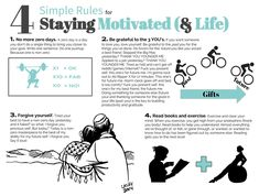 4 simple rules for staying motivated in life Inspirational Quotes Pictures, Motivational Quotes, Zero Days, Life Rules, Simple Rules, Some Quotes, Love Your Life, Note To Self, How To Stay Motivated