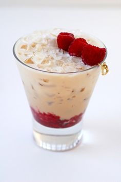 Baileys Valentine Day cocktail Bailey's Cool Raspberry 2 ounces Baileys Original Irish Cream 8-9 raspberries Crushed ice Place 4-5 raspberries at the bottom of a rocks glass and lightly muddle them. Top with crushed ice. Add Baileys Irish Cream. Garnish with three speared raspberries.  #love #valentines #day #valentinesday #dessert #desserts #food #foods #party #heart #hearts #made #with #love #lover #lovers #treats #baked #goods #cooking #recipes www.gmichaelsalon.com