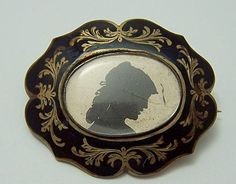 "Victorian ""mourning"" silhouette brooch"