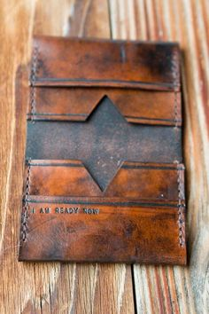 leather wallet with personalized message. leather wallet with personalized message. Leather Art, Leather Design, Leather Tooling, Leather Purses, Leather Wallets, Custom Leather, Leather Jewelry, Leather Wallet Pattern, Handmade Leather Wallet