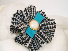 Black and White Houndstooth Genuine Harris by GoldenpennyCrafts