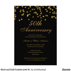 Black and Gold Confetti 50th Wedding Anniversary
