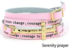 Hammered Goldtone Cross Pink Serenity Bracelet Lord grant serenity to accept things I cannot change ** To view further for this item, visit the image link.(This is an Amazon affiliate link)