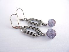 Art deco earrings, long earrings, vintage style, purple beads, dangle earrings, $21