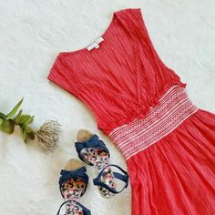 Anthropologie Corey Lynn Calter Apple Red Dress Corey Lynn Calter (carried by Anthropologie) red dress with embroidered elastic waist band. Size 6 and run true to size. 100% cotton. In great pre-loved condition. Anthropologie Dresses