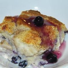 Blueberry Stuffed French Toast Recipe - Allrecipes.com - In the oven now...we'll see!