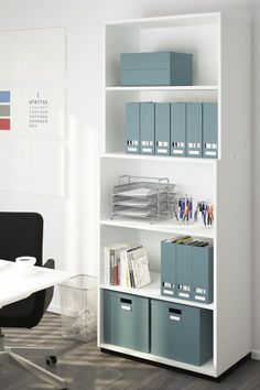 Keep your home office organized! The IKEA TJENA boxes have individual labels so you can keep track of what you are storing inside.