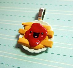 Happy French Fries and Ketchup Pendant Charm - READY TO SHIP - Kawaii Polymer Clay Charm Miniature Food Jewlery Fast Food