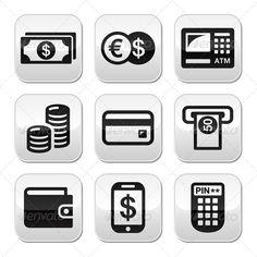 Money, ATM - Cash Machine Vector Buttons Set  #