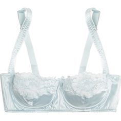 Dolce & Gabbana Stretch-silk satin balconette bra ($195) ❤ liked on Polyvore featuring intimates, bras, lingerie, underwear, sky blue, underwire shelf bra, shelf bra, strappy bra, dolce gabbana lingerie and dolce&gabbana
