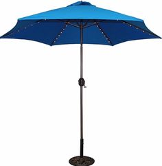 Classic 9 Foot Royal Blue Aluminum Bronze Lighted Umbrella Outdoor Patio  Shades