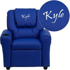 Flash Furniture DG-ULT-KID-BLUE-EMB-GG Personalized Blue Vinyl Kids Recliner with Cup Holder and Headrest