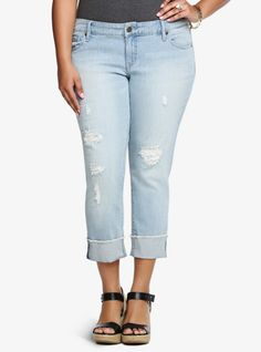 Our White Label denim is casual American style - designed and fit just for you. It's authentic, lived-in fashion that's fun and sexy. <i>Wear what you love.</i><br>In a light wash with ripped destruction and mesh detail, this cropped boyfriend jean with flipped hem has a real chill vibe. Relaxed in the right places but with a slimming silhouette, this look is chic and sleek whether you wear it rolled or straight.