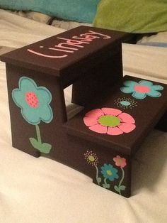 Childrens Step Stool flowers by wouldknots on Etsy, $40.00