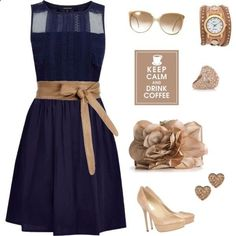 love the dress / navy blue dress with tan brown sash / sunglasses / watch / ring / earrings / purse / high heel shoes / a beautiful outfit to have coffee with your friends