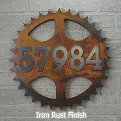 Sprocket Address Plaque Home Numbers for the bike lover 14 diameter totally custom for you by Atlas Signs and Plaques