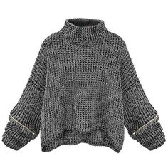 Loose Women Turtleneck Zipper Sleeve Knitted Short Sweater ($304,646) via Polyvore featuring tops, sweaters, loose sweater, loose turtleneck sweater, turtle neck sweater, zipper sweater and women's plus size tops