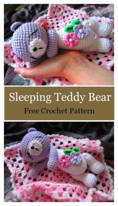 Sleeping Teddy Bear Free Crochet Pattern #freecrochetpatterns #amigurumi