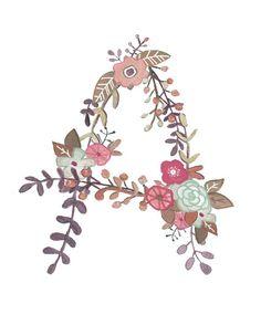 A Floral Print Initial Art Print Floral Letter Flower Alphabet, Flower Letters, Alphabet Art, Letter Art, Floral Illustrations, Illustration Art, Image Deco, Initial Art, Floral Prints