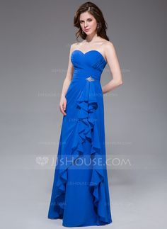 f3af0bd51bf A-Line Princess Sweetheart Floor-Length Chiffon Bridesmaid Dress With  Beading Cascading Ruffles
