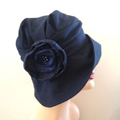 Navy Blue Hat, Winter Cloche, The Alice, Vintage Inspired Cloche,Women's Cloche, Flapper Style Hat, Navy Blue Wool, Flower Accessory, Handmade in the USA