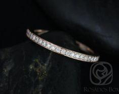 Rosados Box 14kt Rose Gold Matching Band to Hollie Diamonds HALFWAY Eternity Band