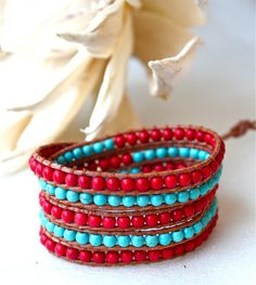 Turquoise/red wrap bracelet