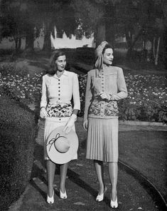 Women were so classy in the 40s. Ensembles from I. Magnin, 1942.