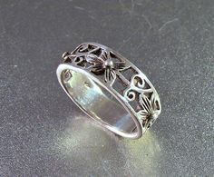 Sterling Cigar Band Ring Orchid Flower Open Work Wedding