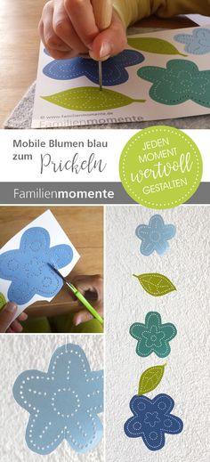 Fantastisch Blumen Mobile Zum Prickeln   Bastelbogen Mit Blau Türkisenen Blumen Und  Blättern   Als