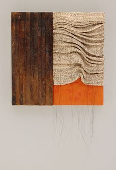 Kathy Miller, Contours. Hand spun and woven Japanese text, encaustic, found wood