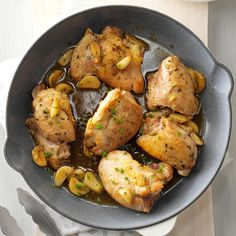 Chicken & Garlic with Fresh Herbs Recipe -The key to this savory chicken is the combination of garlic and fresh rosemary and thyme. I like to serve it with mashed potatoes or crusty Italian bread. —Jan Valdez, Lombard, Illinois