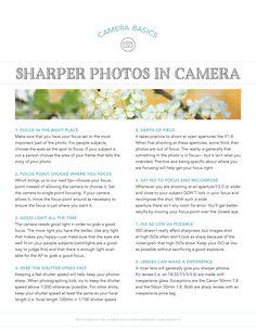 Sharper Photos: Good Light and Good Lenses. Free Cheat Sheet. Pretty Presets for Lightroom.