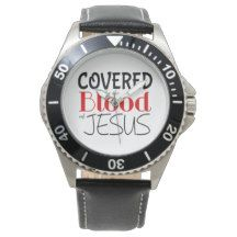 COVERED BY BLOOD OF JESUS Men's Leather Watch