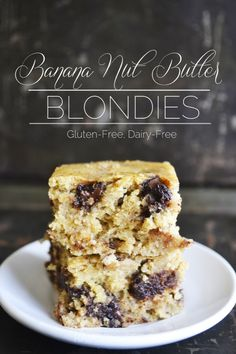 Banana Nut Butter Blondies | gluten-free, dairy-free, refined sugar-free | RaiasRecipes.com
