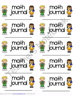 FREE ~ Math Journal labels ~ Math Notebook product from Amy-Alvis on TeachersNotebook.com