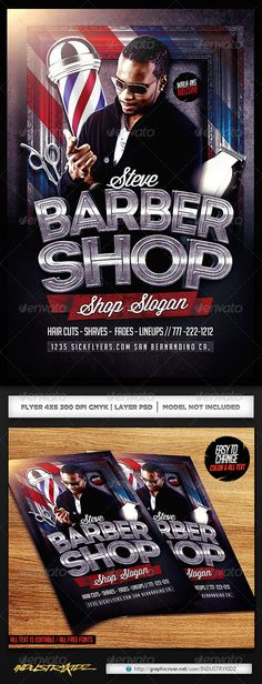 Barbershop Flyer Templates Flyer template, Barbershop and Template - hair salon flyer template