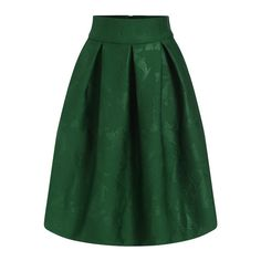 SheIn(sheinside) Green Jacquard Flare Midi Skirt ($27) ❤ liked on Polyvore featuring skirts, green, green midi skirt, flared midi skirt, knee high skirts, calf length skirts et green skirt