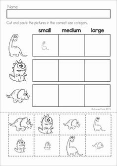 Dinosaur Preschool Math and Literacy No Prep worksheets and activities. A page from the unit: size sorting cut and paste