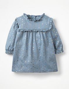 Buy Mini Boden Baby Star Print Jersey Dress, Boathouse Blue from our Baby & Toddler Dresses & Skirts range at John Lewis & Partners. Baby Girl Dress Patterns, Baby Dress Design, Toddler Girl Dresses, Little Girl Dresses, Girls Dresses, Vintage Baby Dresses, Baby Girl Fashion, Kids Fashion, Dress Anak