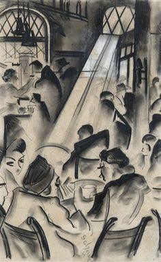 Hugó Scheiber (1873-1950, Hungarian), Coffee-house, Pencil on paper, 50 x 32,5 cm.
