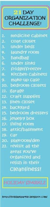 Home Organization Challenge Organize your entire house in 21 days doing one small section a day! Home Organization Challenge Organize your entire house in 21 days doing one small section a day! Flylady, Do It Yourself Organization, Storage Organization, Organizing Tips, Daily Organization, Household Organization, Casa Clean, Clean House, Cleaning Solutions