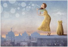 "Russian Illustratior Elena Lishanskaya Love it! Reminds me of all the times I did ""bubble time"" with my cats lol"