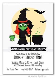 HALLOWEEN PARTY INVITATIONS:  Cute little green witch with a cauldron of green goo, a green frog and bats, fun for kids Halloween birthday party invitations, Halloween costume party invitations and more. See our entire collection at Announcingit.com