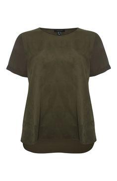Primark - Khaki T-shirt suède voorkant