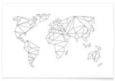 Geometrical World - white als Premium Poster von Studio Nahili | JUNIQE