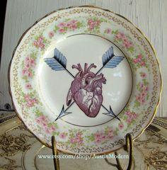 Altered Vintage Wall Plate Crossed Arrows Heart Dark Victorian Valentine