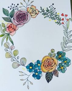 The post Vintage flower wreath. appeared first on Diy Flowers. Watercolor Flowers, Watercolor Art, Drawing Flowers, Flower Drawings, Ink Painting, Doodle Drawings, Doodle Art, Kranz Tattoo, Wreath Tattoo